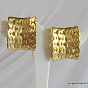 REDUCED Vintage Earrings Colossal Geometric 10 kt Gold Plated Designer Les Bernard