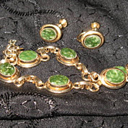 Lady Coventry Jade and GF Bracelet and Earrings Set 1971