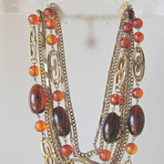 Vintage Amber Glass Beaded Necklace Multiple Chains