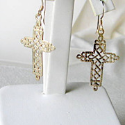 SALE Vintage Sterling Filigree Cross Earrings Dangle Pierced