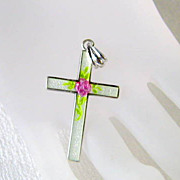 SOLD Vintage Enamel and Sterling Cross Necklace Rose of Sharon