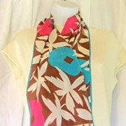 Mod Flower Power Scarf Vintage Albert Nipon Silk
