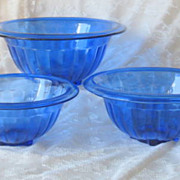 Hazel Atlas Cobalt Blue Nesting Bowls Depression Glass