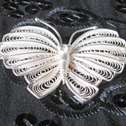 Vintage Sterling Cannetille Butterfly Brooch