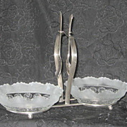 Vintage Bagley Glass Condiment Server English Silver Plate Katherine Pattern