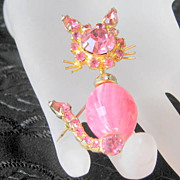 SALE Pink Rhinestone Brooch  Bead Belly Cat Trembler