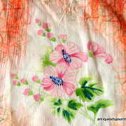 Beautiful Hand Painted Silk Occupied Japan Hand Sewn Scarf Wearable Art
