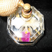 Mid Century Lucite Perfume Bottle With Orchid Encased