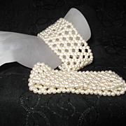 Madmen Faux Pearl Cuffs Wedding Jewelry