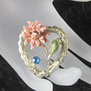 Vintage Enamel Stone Coro Heart Shaped Floral Brooch