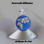 Swarovski Crystal Millenium Year Cobalt and Clear Globe Retired 2000