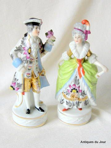 Edme Samson Porcelain Figurines 19th Century in Meissen Manner