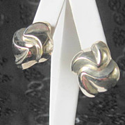 SALE Sterling Silver Earrings Curvy Dimensional Design