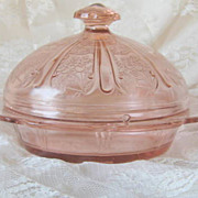 Pink Cherry Blossom Butter Dish Depression Glass