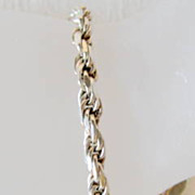 SALE Vintage Italian Silver Bracelet Rope Chain