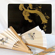 Vintage Japanese Hand Fans Hand Painted With Black Lacquer Box Five Fans