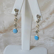 Fabulous Silver Dangle Earrings Turquoise and Marcasites