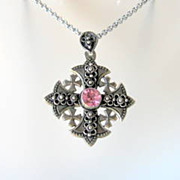 Vintage Jerusalem Jordan Cross Pendant Brooch Huge Ca. 1967