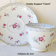 "Vintage Shelley Fine Bone China Tea Cup and Saucer ""Charm"" Pattern"