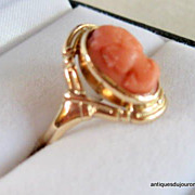 SALE Lovely Coral Cameo Ring Vintage 10kt Gold