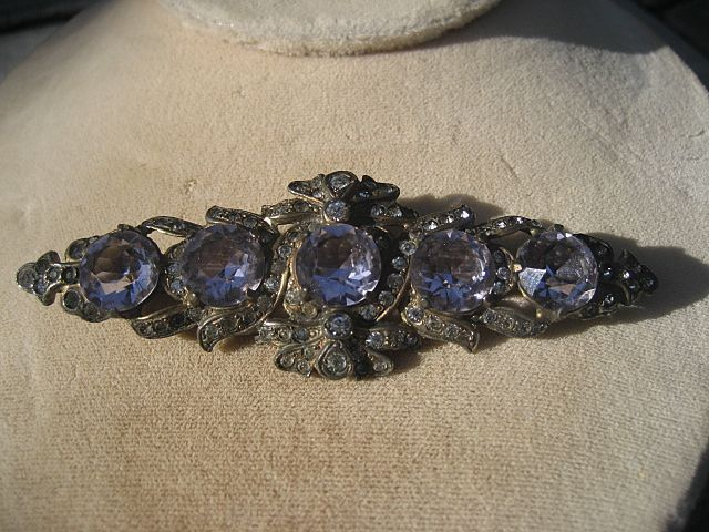 Antique Edwardian French Paste Silver Brooch with Brilliant Amethyst Colored Stones