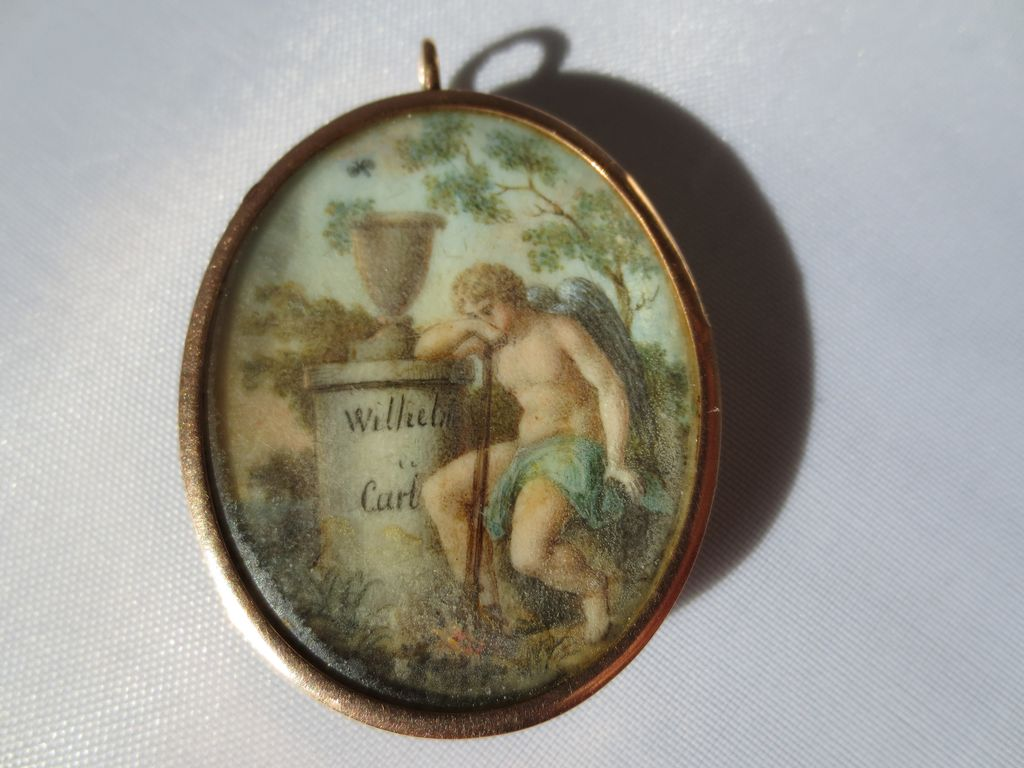 Antique Mourning Locket in 15K Rose Gold ~ Hand Painted Miniature ~ Georgian Period