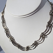 Unusual Vintage Mexican Swag Sterling Silver Necklace / Taxco