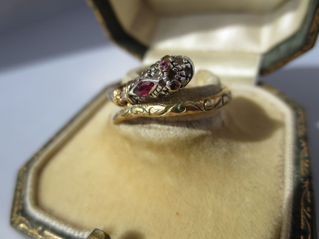 For Juliette! Ultra Rare Gold Diamond Ruby and Sapphire and Enamel Serpent or Snake Ring ~ Antique Georgian Period