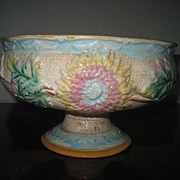 Large Antique Majolica Chrysanthemum Pattern Pedestal Bowl