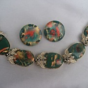 Vintage Coro Enamel Bracelet and Earring Demi Set