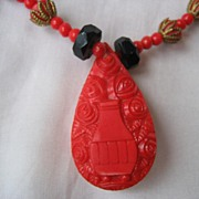Vintage Art Deco Czech Red Art Glass and Black Jet Egyptian Revival Necklace