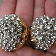 Gorgeous Vintage Huge Rhinestone Kramer Earrings Sparkle Galore!