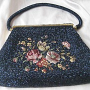 REDUCED Vintage Beaded and Petite Point Floral 60's Purse with Blue Carnival Glass Beads ~ Oh