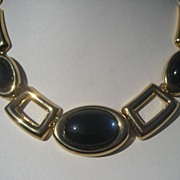 Vintage Gold Toned with Big Blue Cabochon's Napier Necklace with Original Tag