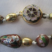 Vintage Art Deco Enamel Chinese Cloisonne Knotted Bead Necklace