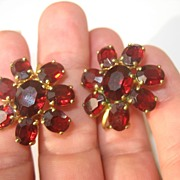 Vintage Deco Period Red Garnet Colored Faceted Glass Stone Earrings Made In Germany