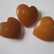 Vintage Bakelite Carved Figural Heart Buttons Set of 3