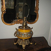 Spectacular Antique PLUME & ATWOOD ROYAL Brass Ormolu Jewel Encrusted Table Lamp with Winged .
