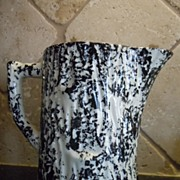 Black Spongeware Water Pitcher