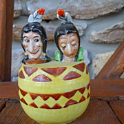 Vintage Indian Nodder Salt and Pepper in Drum