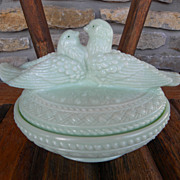 Westmoreland Lovebirds Covered Dish in Jadeite