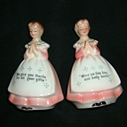 Enesco Mother in the Kitchen Prayer Lady Salt and Pepper Shakers