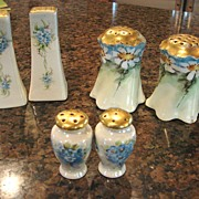3 pair Shakers Hand China Painted Floral Salt Pepper Muffineer Porcelain China Heirloom Vintag