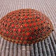 Asian Antique Carnelian Jeweled Egg Trinket Box Jewelry Box