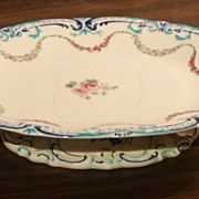 19th Century Porcelain China Pedestal Compote Footed Serving Tray Dish German Germany Antique
