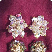 Hob Rhinestone Aurora Borealis Earrings 2 Pair Gorgeous!