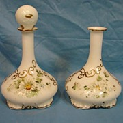 SALE 19th Century Mt Washington Milk Glass Barber Bottle Pair Hand Painted