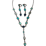 Edwardian Y Style Aqua Forest and Teal stone necklace Earrings