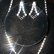 Vintage Black and White Rhinestone Ice Necklace and Earring set
