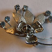 Blue Rhinestone Flower Spray Brooch Pin